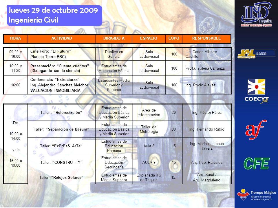 Jueves 29 de octubre 2009 Ingeniería Civil HORAACTIVIDADDIRIGIDO AESPACIOCUPORESPONSABLE 09:00 y 18:00 Cine Foro: El Futuro Planeta Tierra BBC) Públic
