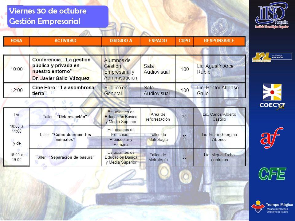Viernes 30 de octubre Gestión Empresarial HORAACTIVIDADDIRIGIDO AESPACIOCUPORESPONSABLE 10:00 Conferencia: La gestión pública y privada en nuestro ent