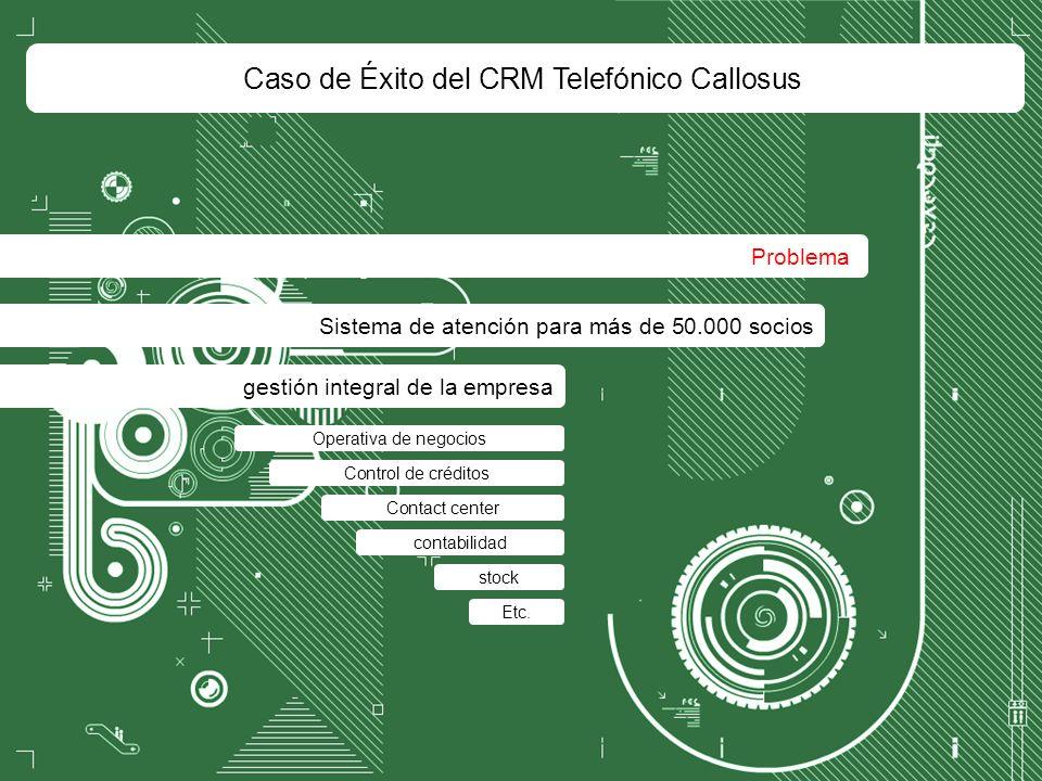 Caso de Éxito del CRM Telefónico Callosus Problema Sistema de atención para más de 50.000 socios gestión integral de la empresa Contact center Operativa de negocios contabilidad stock Control de créditos Etc.