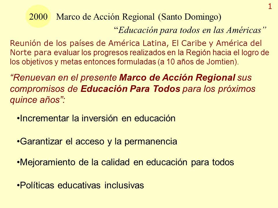 2000 Marco de Acción Regional (Santo Domingo) Educación para todos en las Américas Reunión de los países de América Latina, El Caribe y América del No