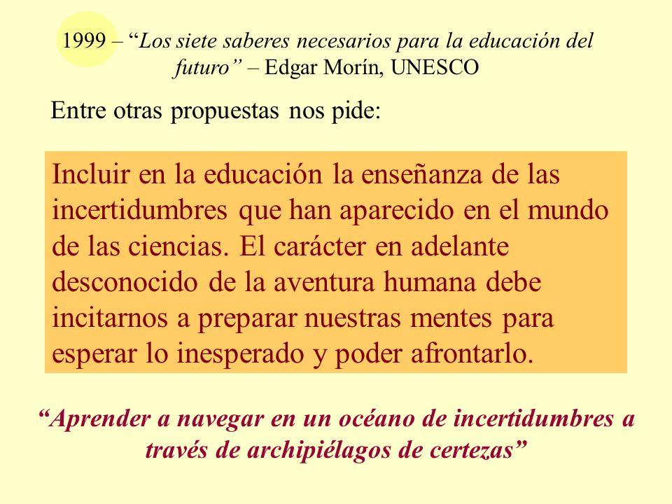 1999 – Los siete saberes necesarios para la educación del futuro – Edgar Morín, UNESCO Incluir en la educación la enseñanza de las incertidumbres que