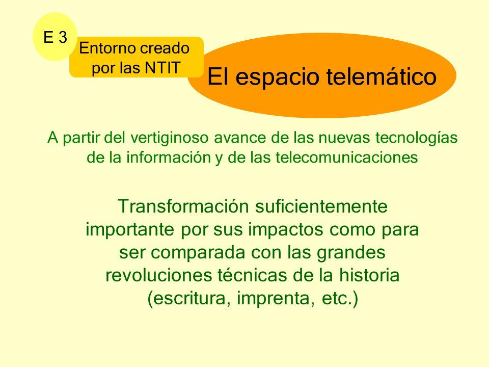 El espacio telemático Entorno creado por las NTIT E 3 A partir del vertiginoso avance de las nuevas tecnologías de la información y de las telecomunic