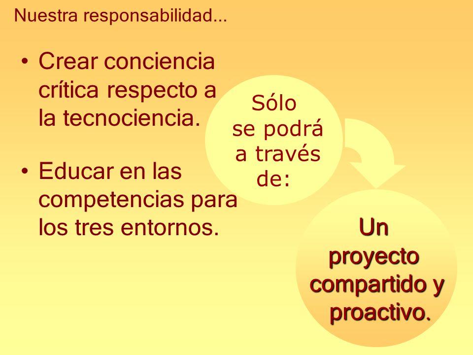 Unproyecto compartido y proactivo. proactivo. Crear conciencia crítica respecto a la tecnociencia. Educar en las competencias para los tres entornos.
