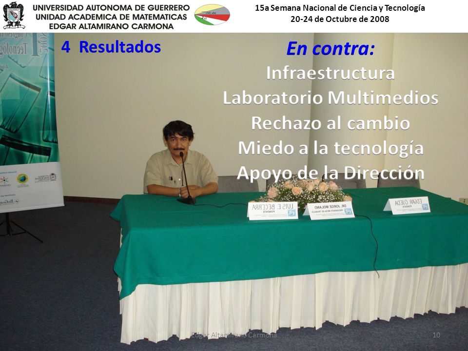 15a Semana Nacional de Ciencia y Tecnología 20-24 de Octubre de 2008 Edgar Altamirano Carmona10