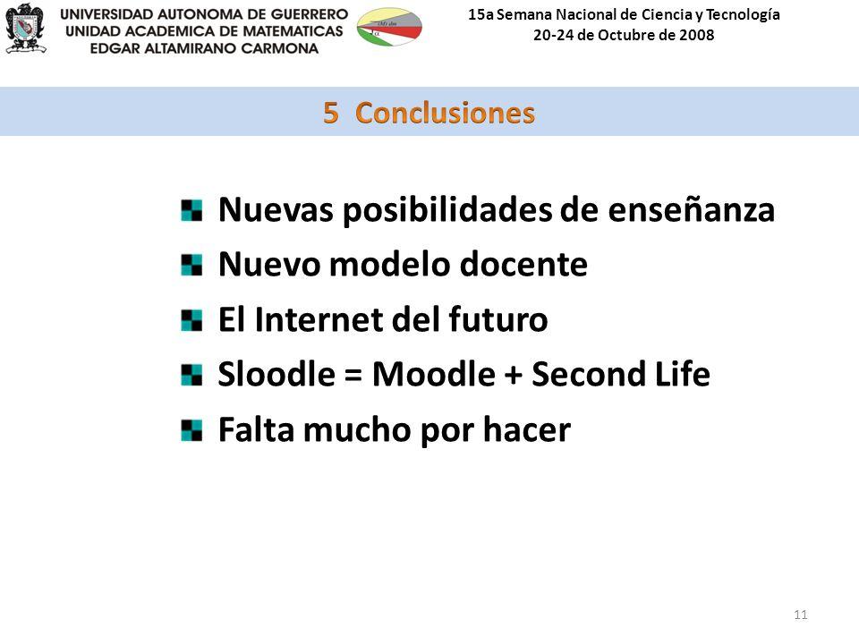 15a Semana Nacional de Ciencia y Tecnología 20-24 de Octubre de 2008 11 Nuevas posibilidades de enseñanza Nuevo modelo docente El Internet del futuro Sloodle = Moodle + Second Life Falta mucho por hacer