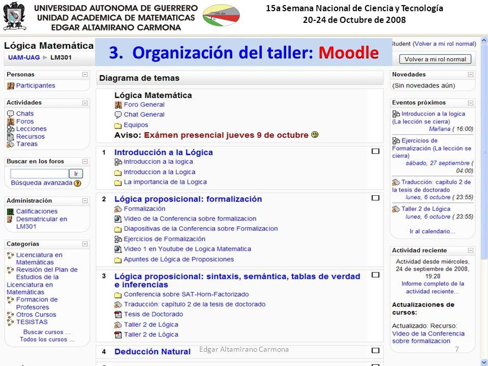 15a Semana Nacional de Ciencia y Tecnología 20-24 de Octubre de 2008 Edgar Altamirano Carmona7