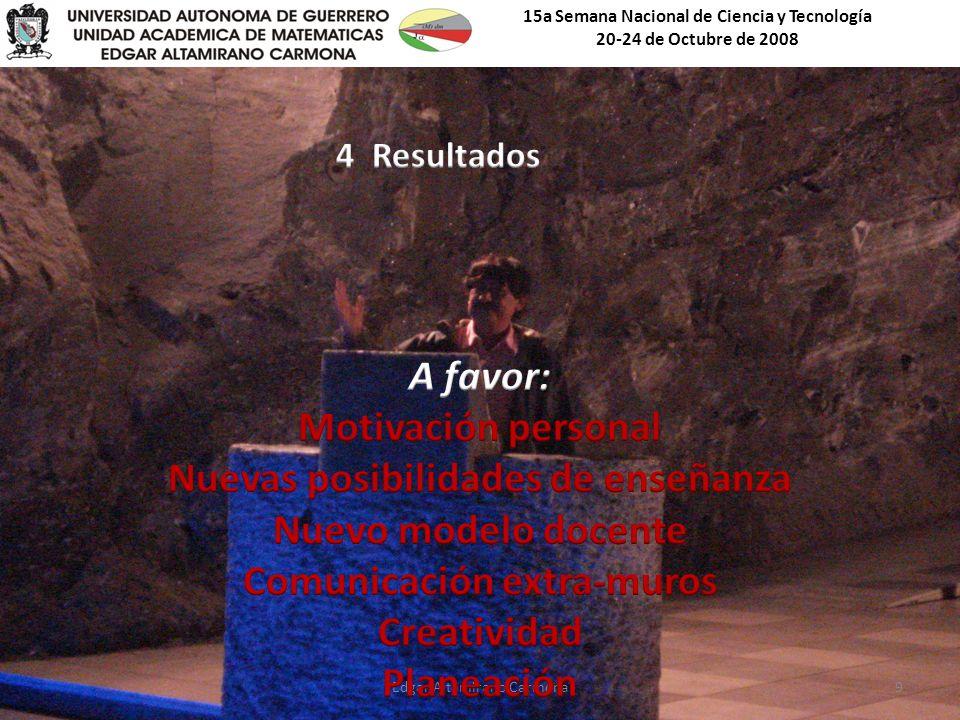 15a Semana Nacional de Ciencia y Tecnología 20-24 de Octubre de 2008 Edgar Altamirano Carmona9
