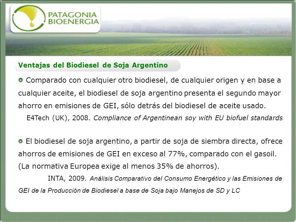 Ventajas del Biodiesel de Soja Argentino Comparado con cualquier otro biodiesel, de cualquier origen y en base a cualquier aceite, el biodiesel de soj