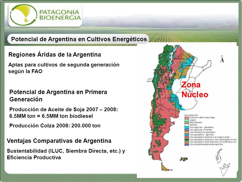 Regiones Áridas de la Argentina Aptas para cultivos de segunda generación según la FAO Zona Núcleo Potencial de Argentina en Primera Generación Produc