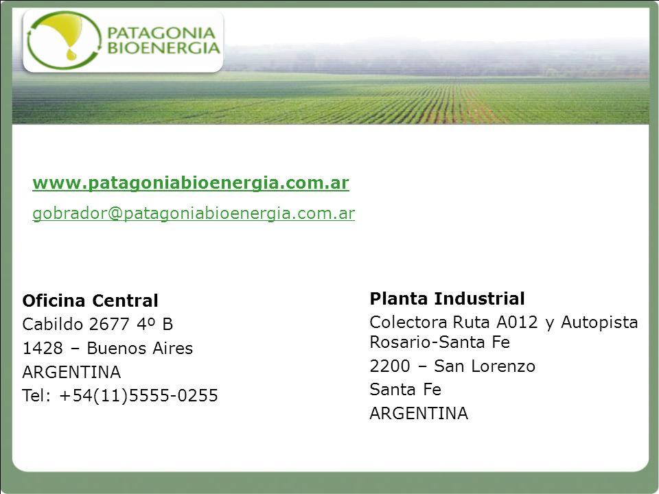 www.patagoniabioenergia.com.ar gobrador@patagoniabioenergia.com.ar Planta Industrial Colectora Ruta A012 y Autopista Rosario-Santa Fe 2200 – San Loren