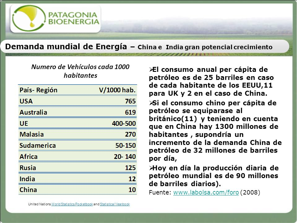 United Nations World Statistics Pocketbook and Statistical Yearbook Numero de Vehículos cada 1000 habitantes El consumo anual per cápita de petróleo e