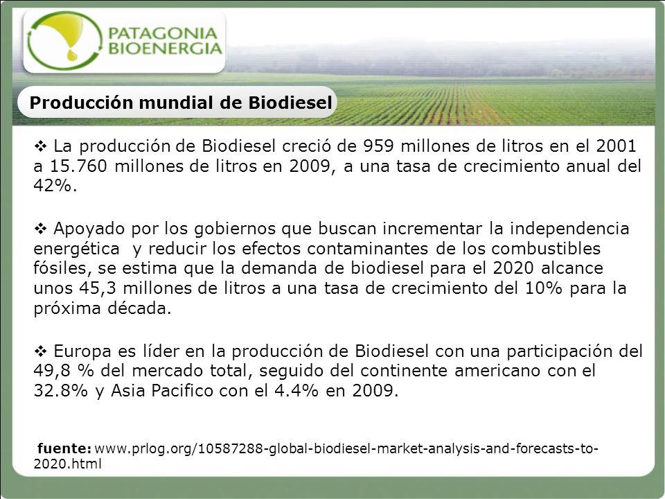 La producción de Biodiesel creció de 959 millones de litros en el 2001 a 15.760 millones de litros en 2009, a una tasa de crecimiento anual del 42%. A