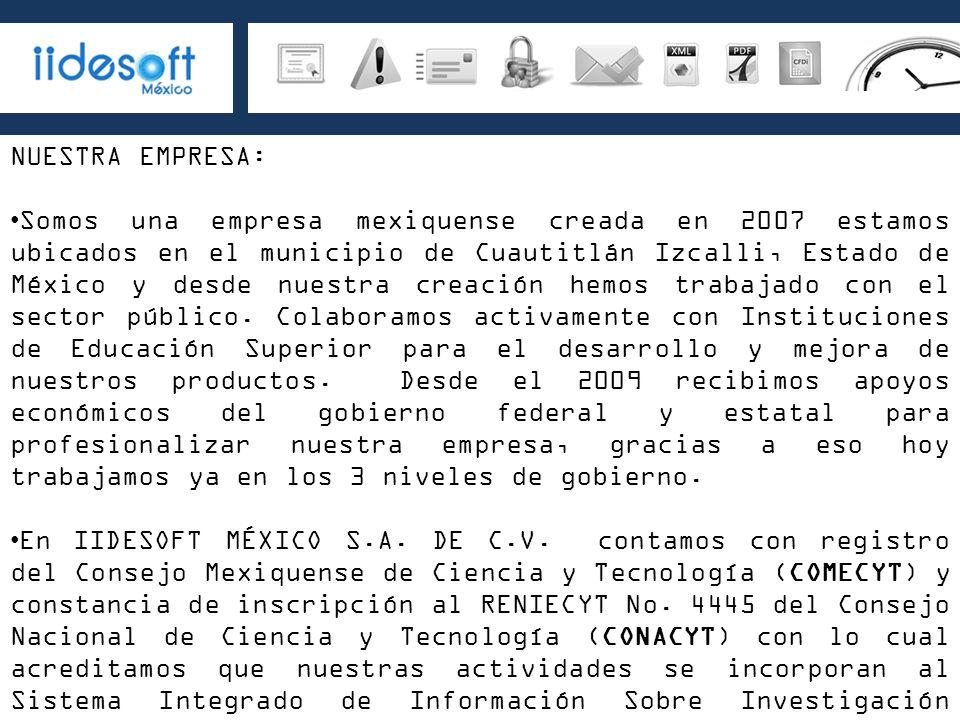 NUESTRA EMPRESA: Somos una empresa mexiquense creada en 2007 estamos ubicados en el municipio de Cuautitlán Izcalli, Estado de México y desde nuestra