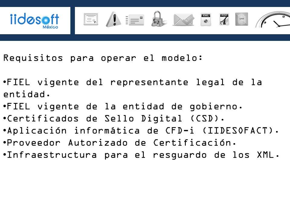 Requisitos para operar el modelo: FIEL vigente del representante legal de la entidad. FIEL vigente de la entidad de gobierno. Certificados de Sello Di