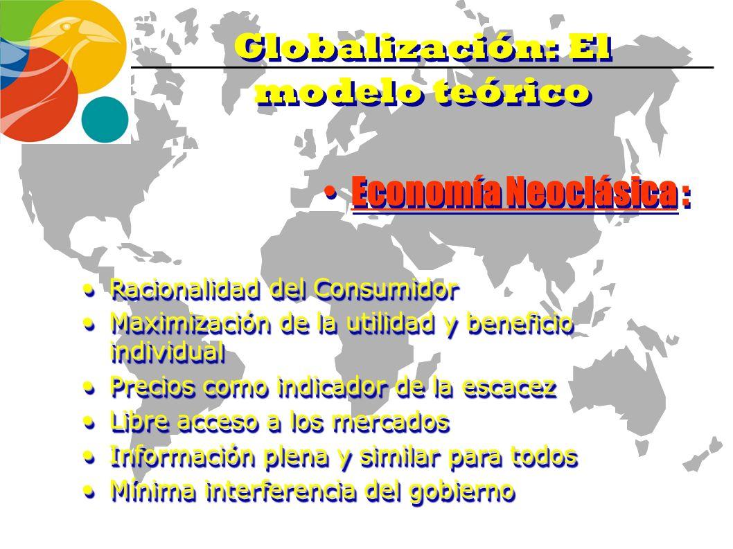 Globalización: El modelo Teórico Eliminación de barreras y restricciones a los flujos productivos ( capital monetaqrio, mano de obra y recursos natura