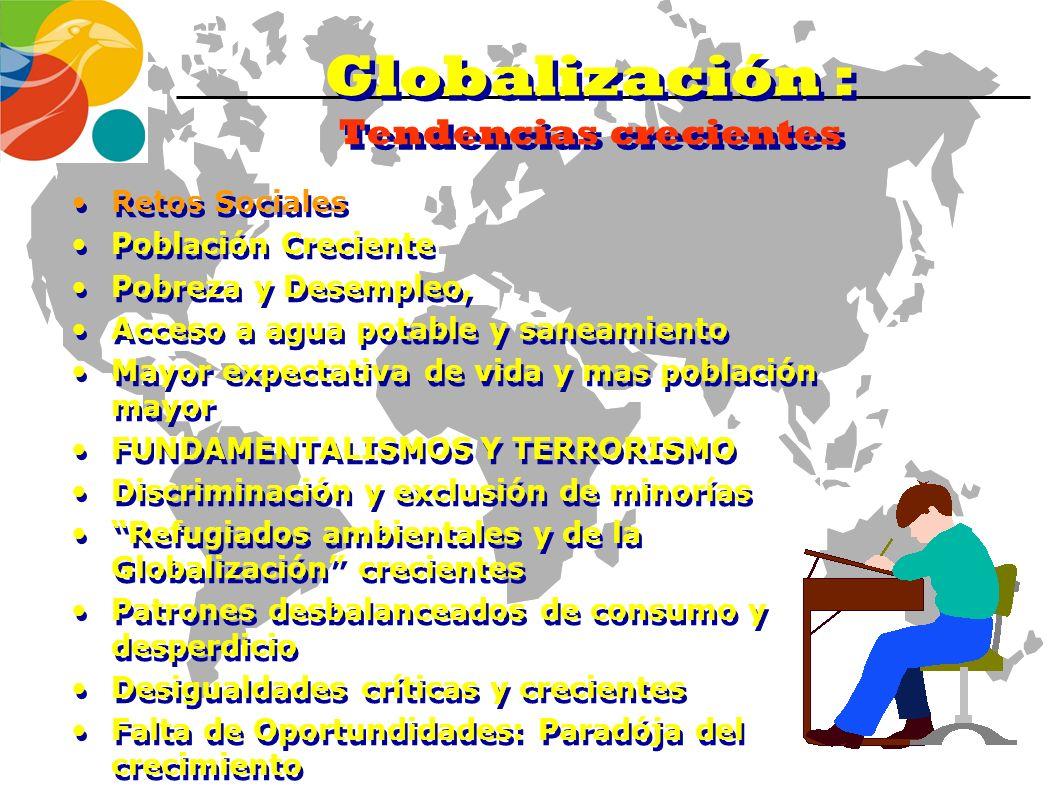 Globalization : Some current trends PROBLEMAS Y RETOS AMBIENTALES Calentamiento Climático Comportamiento no lineal del clima Disminución de la Capa de