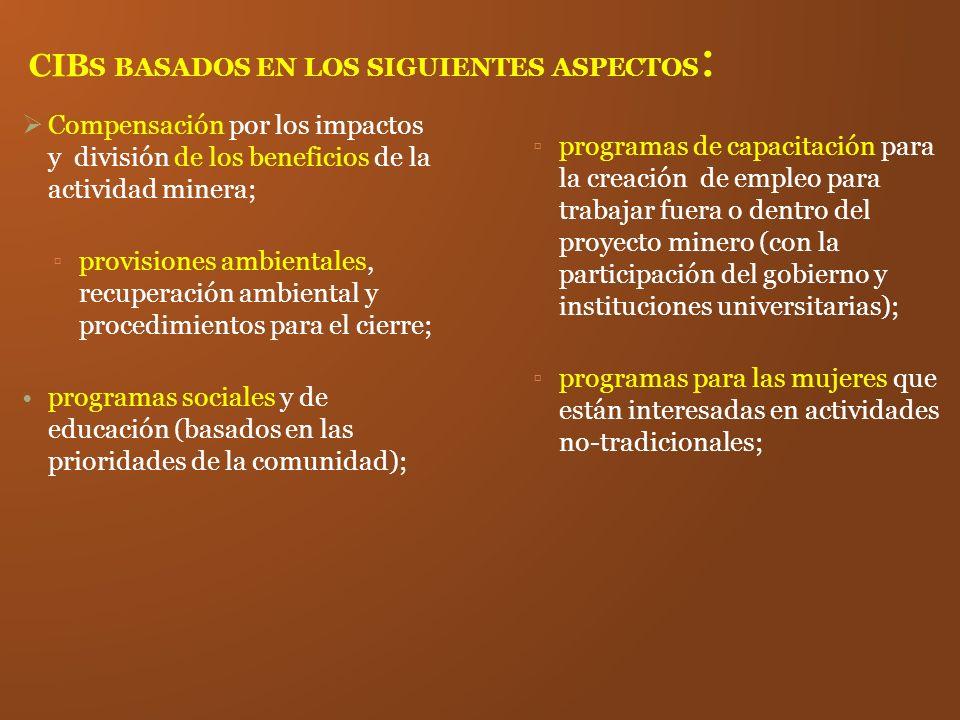 CIB S BASADOS EN LOS SIGUIENTES ASPECTOS : Compensación por los impactos y división de los beneficios de la actividad minera; provisiones ambientales,