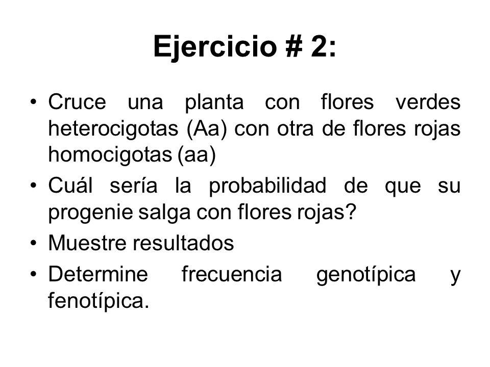 Ejercicio # 2: Cruce una planta con flores verdes heterocigotas (Aa) con otra de flores rojas homocigotas (aa) Cuál sería la probabilidad de que su pr