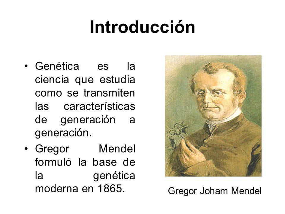 Introducción Genética es la ciencia que estudia como se transmiten las características de generación a generación. Gregor Mendel formuló la base de la