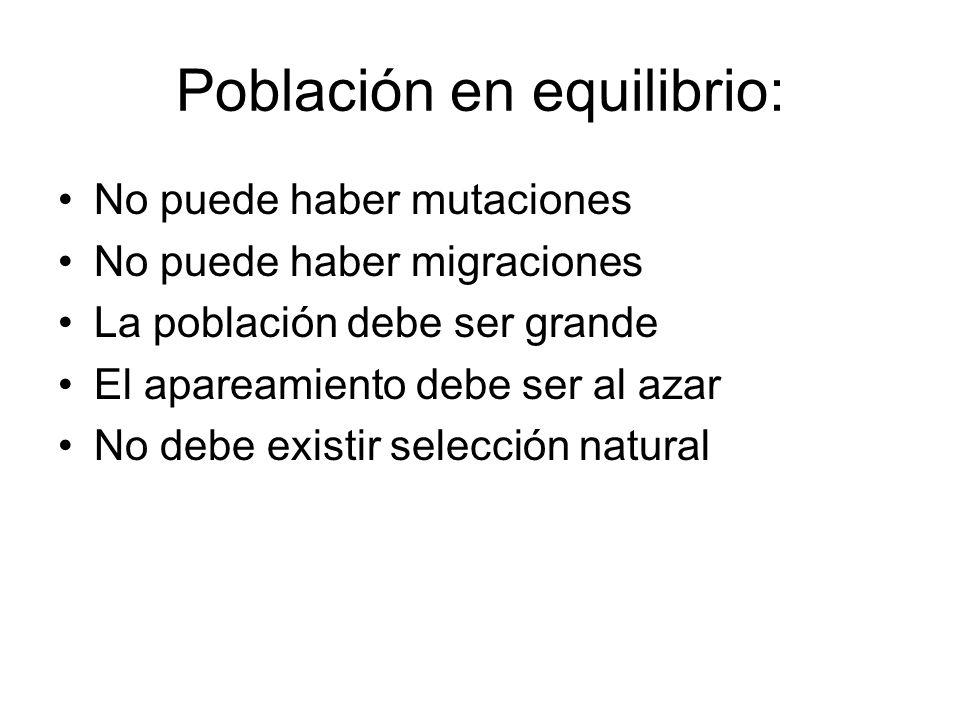 Población en equilibrio: No puede haber mutaciones No puede haber migraciones La población debe ser grande El apareamiento debe ser al azar No debe ex