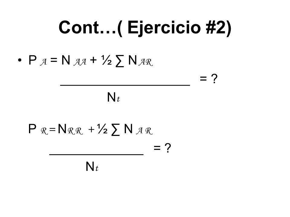 Cont…( Ejercicio #2) P A = N AA + ½ N AR __________________ = ? N t P R = N R R + ½ N A R _____________ = ? N t
