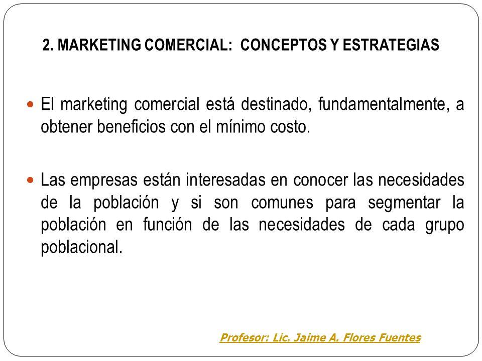 Área de Educación para el trabajo EL MARKETING TEMA 2: EL MARKETING COMERCIAL Profesor: Lic. Jaime A. Flores Fuentes