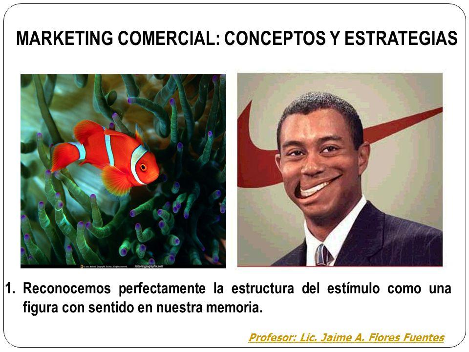 2. MARKETING COMERCIAL: La Percepción La percepción se desarrolla a partir de los estímulos que ha seleccionado la atención y según la Gestalt se estr