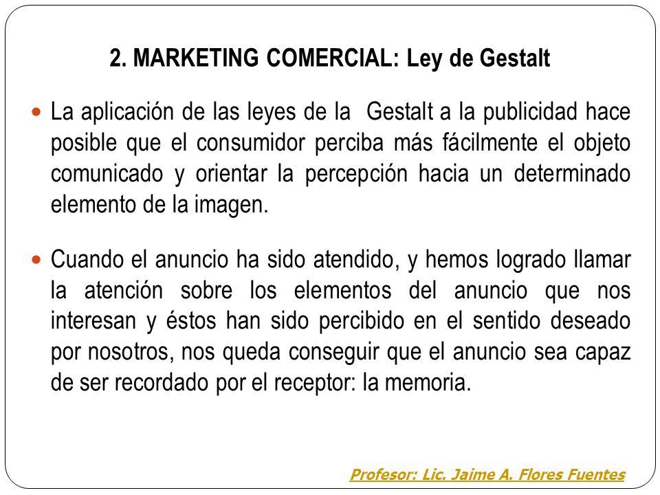 MARKETING COMERCIAL: CONCEPTOS Y ESTRATEGIAS 2. Percibimos dependiendo de lo que consideremos figura y fondo Profesor: Lic. Jaime A. Flores Fuentes