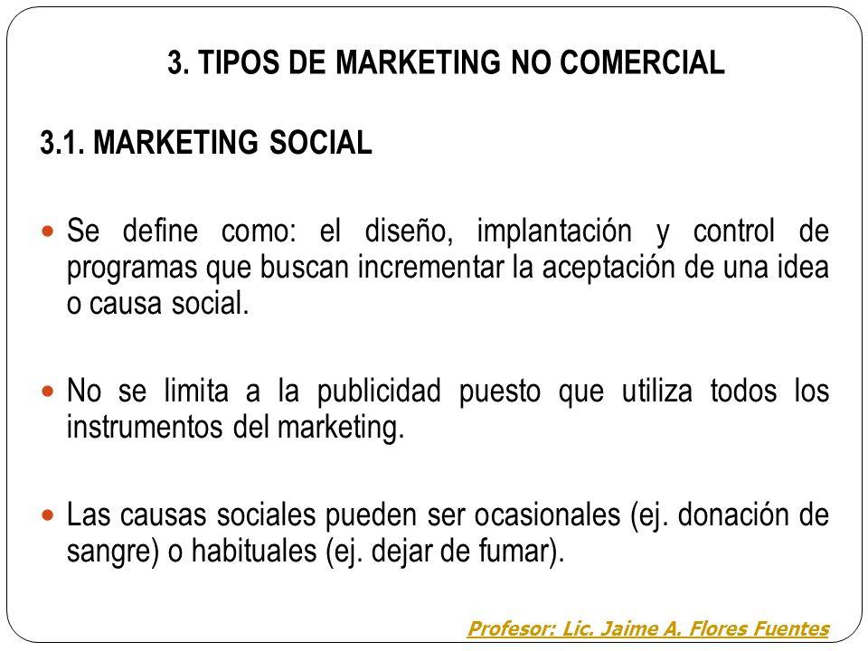 3. MARKETING NO COMERCIAL: INTRODUCCIÓN El marketing comercial (MC) se diferencia del no comercial (MNC) en dos cosas: los objetivos que persigue y lo