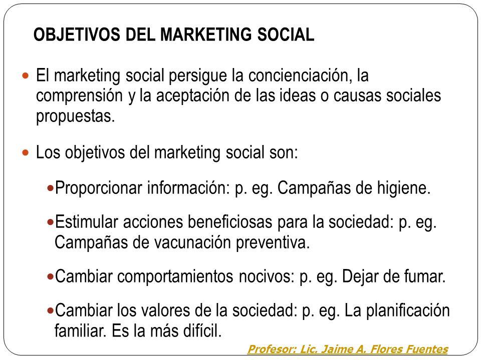 3.1. MARKETING SOCIAL Se define como: el diseño, implantación y control de programas que buscan incrementar la aceptación de una idea o causa social.