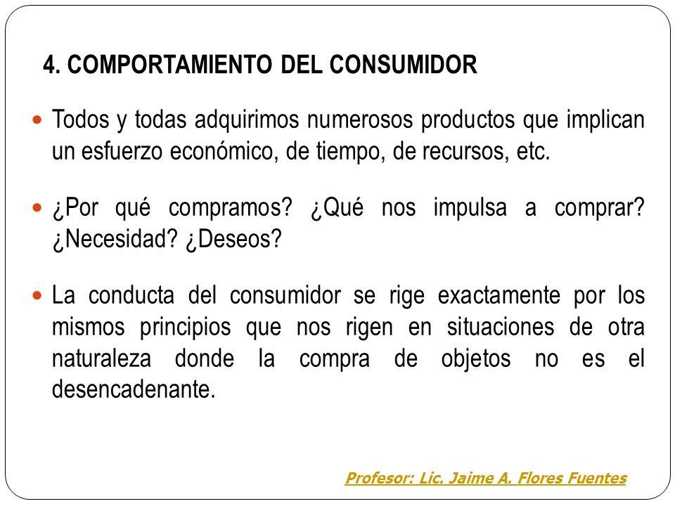 Área de Educación para el trabajo EL MARKETING TEMA 4: EL COMPORTAMIENTO DEL CONSUMIDOR Profesor: Lic. Jaime A. Flores Fuentes