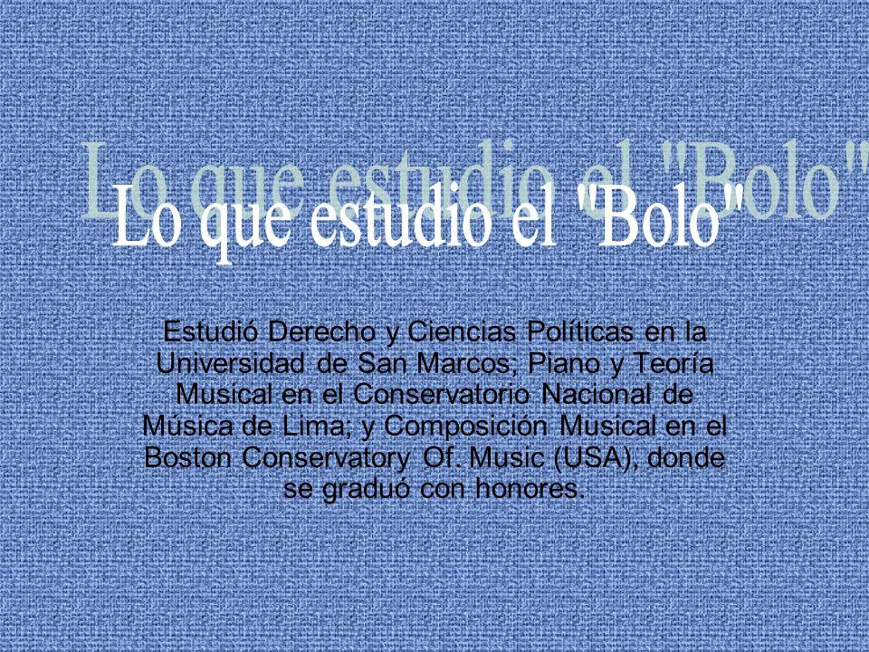Estudió Derecho y Ciencias Políticas en la Universidad de San Marcos; Piano y Teoría Musical en el Conservatorio Nacional de Música de Lima; y Composi