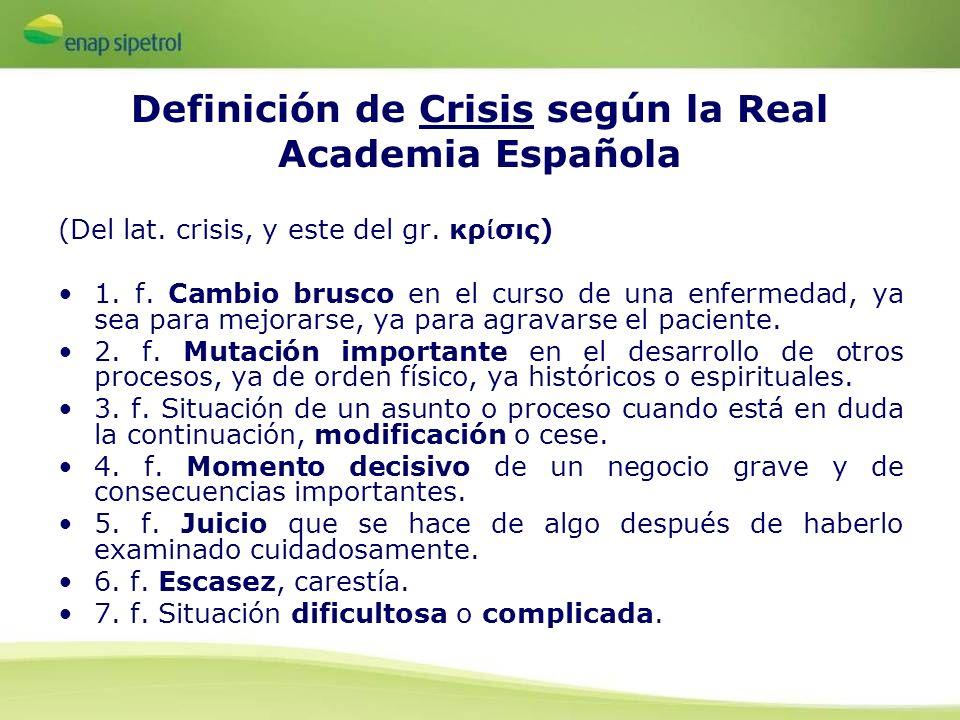 Definición de Crisis según la Real Academia Española (Del lat. crisis, y este del gr. κρ σις) 1. f. Cambio brusco en el curso de una enfermedad, ya se