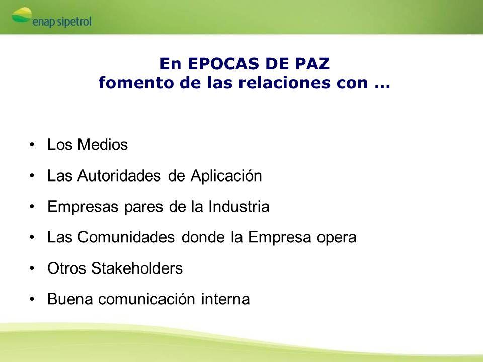 En EPOCAS DE PAZ fomento de las relaciones con … Los Medios Las Autoridades de Aplicación Empresas pares de la Industria Las Comunidades donde la Empr