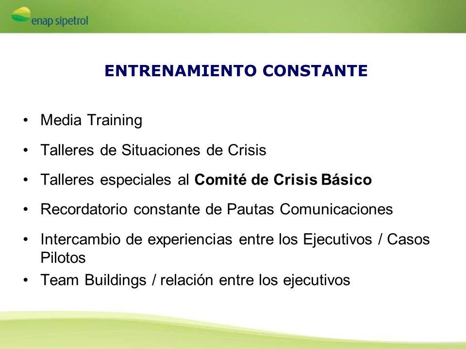 ENTRENAMIENTO CONSTANTE Media Training Talleres de Situaciones de Crisis Talleres especiales al Comité de Crisis Básico Recordatorio constante de Paut