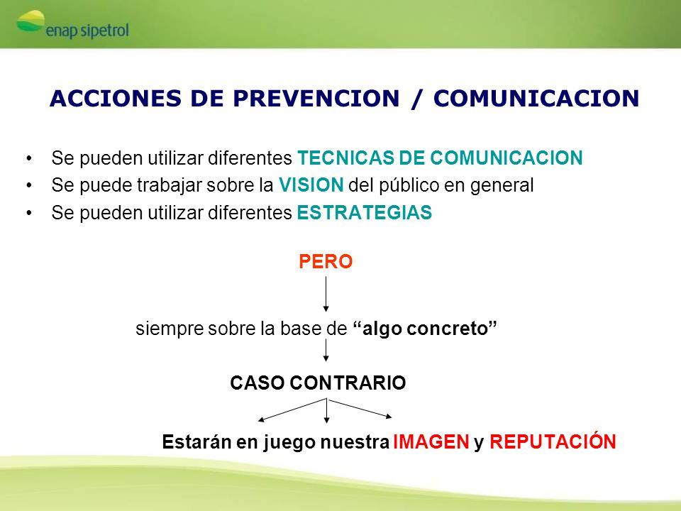 ACCIONES DE PREVENCION / COMUNICACION Se pueden utilizar diferentes TECNICAS DE COMUNICACION Se puede trabajar sobre la VISION del público en general