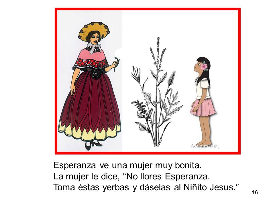 16 Esperanza ve una mujer muy bonita. La mujer le dice, No llores Esperanza. Toma éstas yerbas y dáselas al Niñito Jesus.