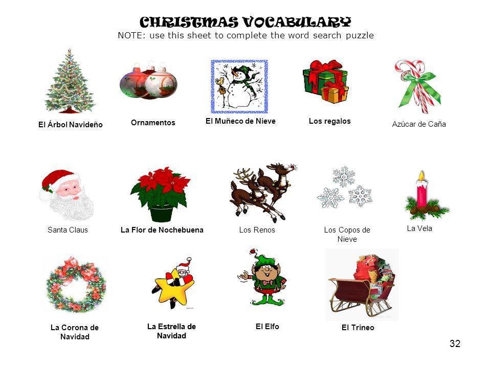 32 Las Bombillas de Navidad Las Bombillas de Navidad El Árbol Navideño El Muñeco de NieveLos regalos Azúcar de Caña Santa ClausLa Flor de NochebuenaLos RenosLos Copos de Nieve La Vela La Corona de Navidad La Estrella de Navidad El Elfo El Trineo CHRISTMAS VOCABULARY NOTE: use this sheet to complete the word search puzzle Ornamentos