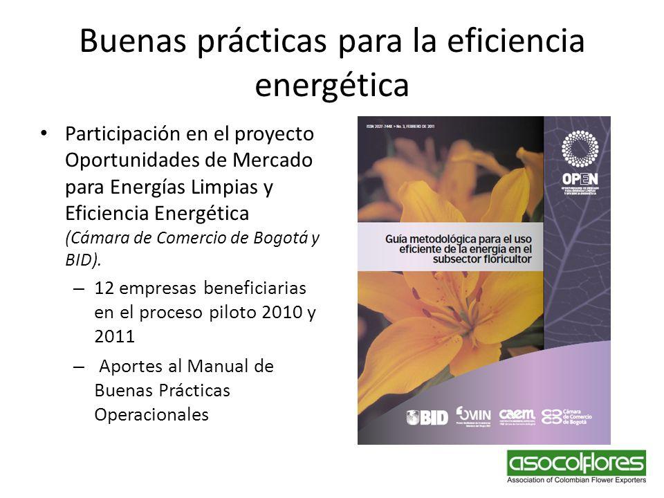 Buenas prácticas para la eficiencia energética Participación en el proyecto Oportunidades de Mercado para Energías Limpias y Eficiencia Energética (Cá