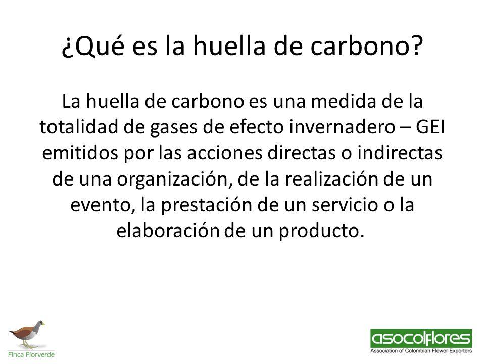 ¿Qué es la huella de carbono? La huella de carbono es una medida de la totalidad de gases de efecto invernadero – GEI emitidos por las acciones direct