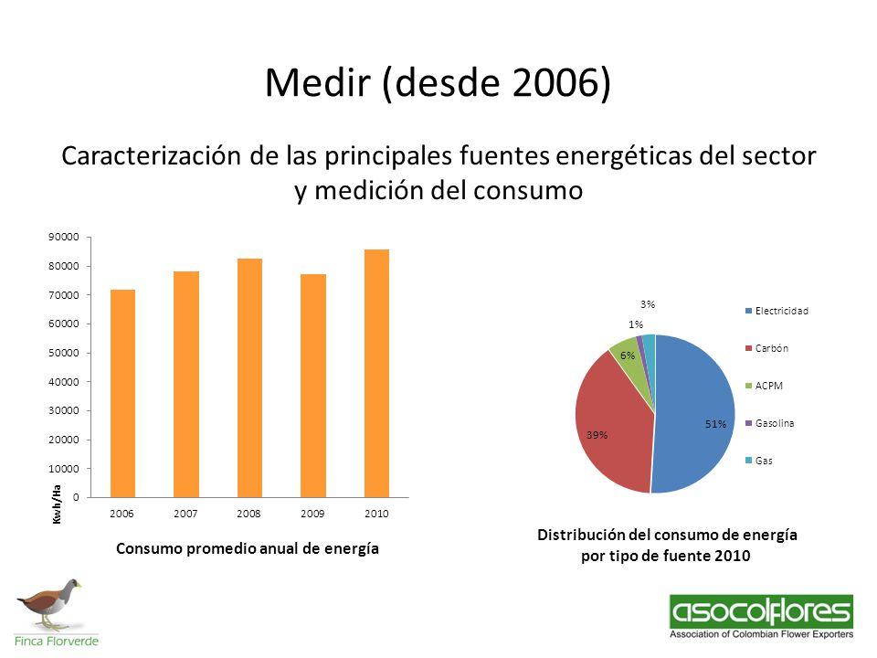 Medir (desde 2006) Caracterización de las principales fuentes energéticas del sector y medición del consumo