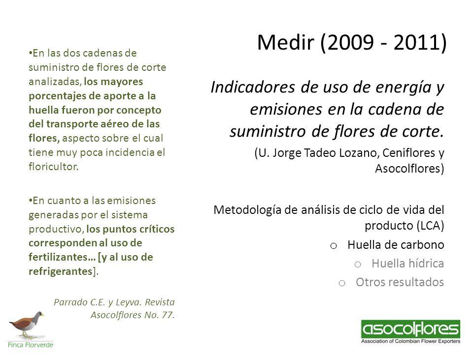 Medir (2009 - 2011) Indicadores de uso de energía y emisiones en la cadena de suministro de flores de corte. (U. Jorge Tadeo Lozano, Ceniflores y Asoc