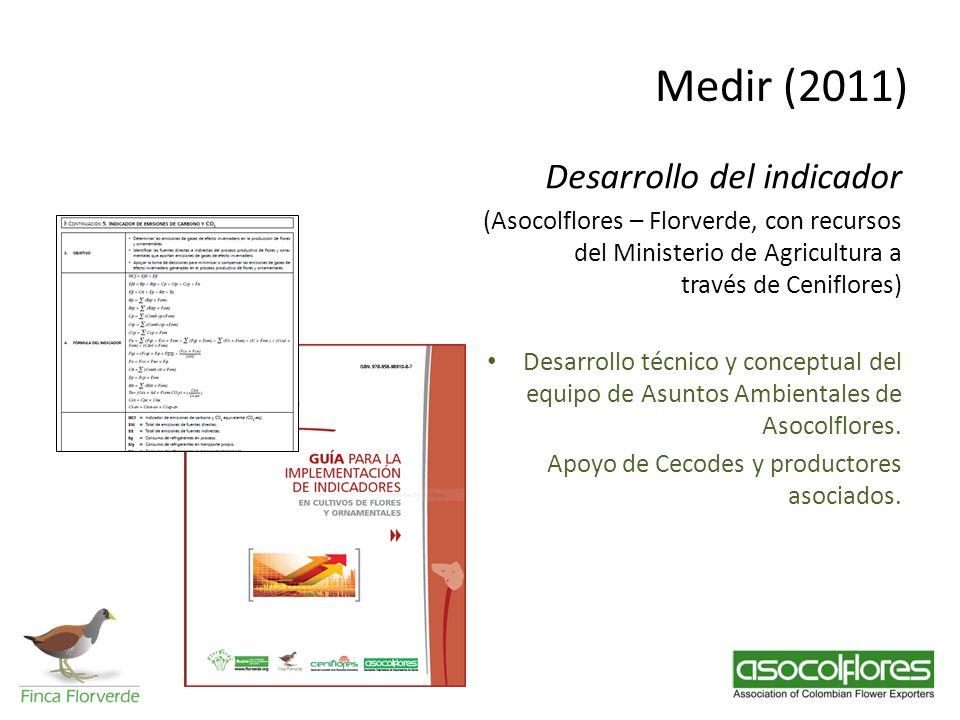 Medir (2011) Desarrollo del indicador (Asocolflores – Florverde, con recursos del Ministerio de Agricultura a través de Ceniflores) Desarrollo técnico
