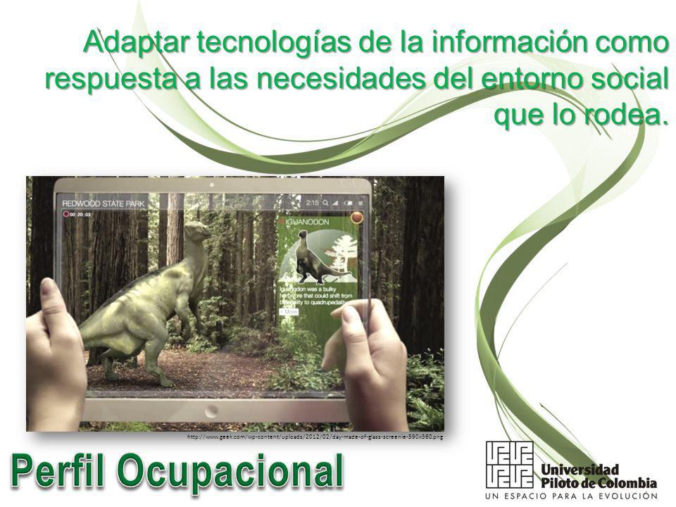 Adaptar tecnologías de la información como respuesta a las necesidades del entorno social que lo rodea.