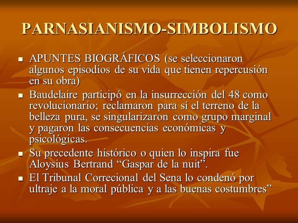 PARNASIANISMO-SIMBOLISMO APUNTES BIOGRÁFICOS (se seleccionaron algunos episodios de su vida que tienen repercusión en su obra) APUNTES BIOGRÁFICOS (se