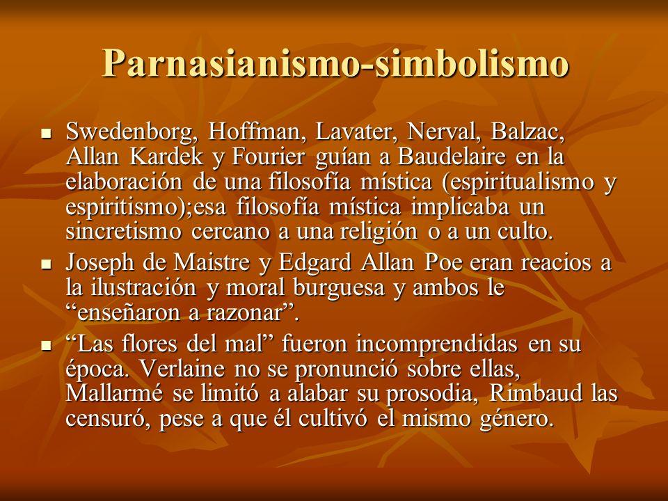 Parnasianismo-simbolismo Swedenborg, Hoffman, Lavater, Nerval, Balzac, Allan Kardek y Fourier guían a Baudelaire en la elaboración de una filosofía mí