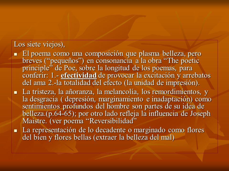 Los siete viejos), El poema como una composición que plasma belleza, pero breves (pequeños) en consonancia a la obra The poetic principle de Poe, sobr