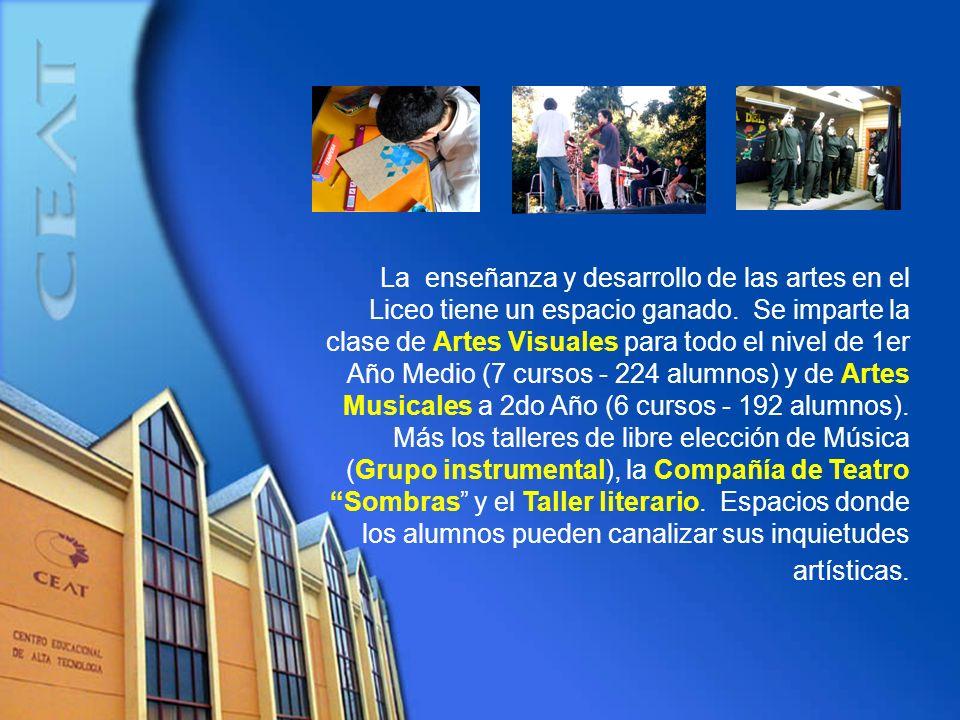 La enseñanza y desarrollo de las artes en el Liceo tiene un espacio ganado. Se imparte la clase de Artes Visuales para todo el nivel de 1er Año Medio
