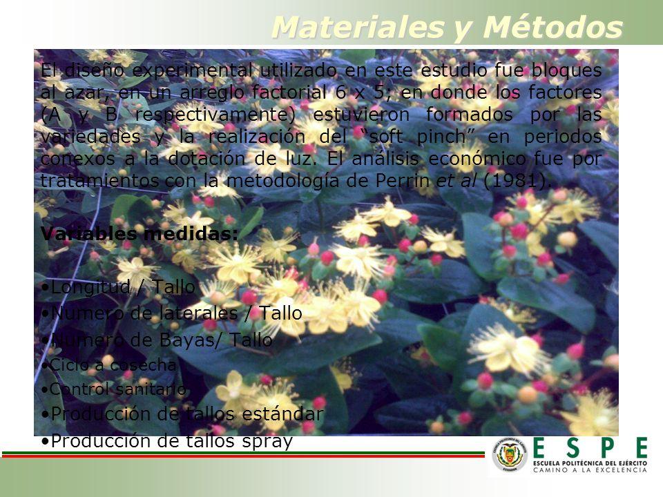 Materiales y Métodos El diseño experimental utilizado en este estudio fue bloques al azar, en un arreglo factorial 6 x 5; en donde los factores (A y B