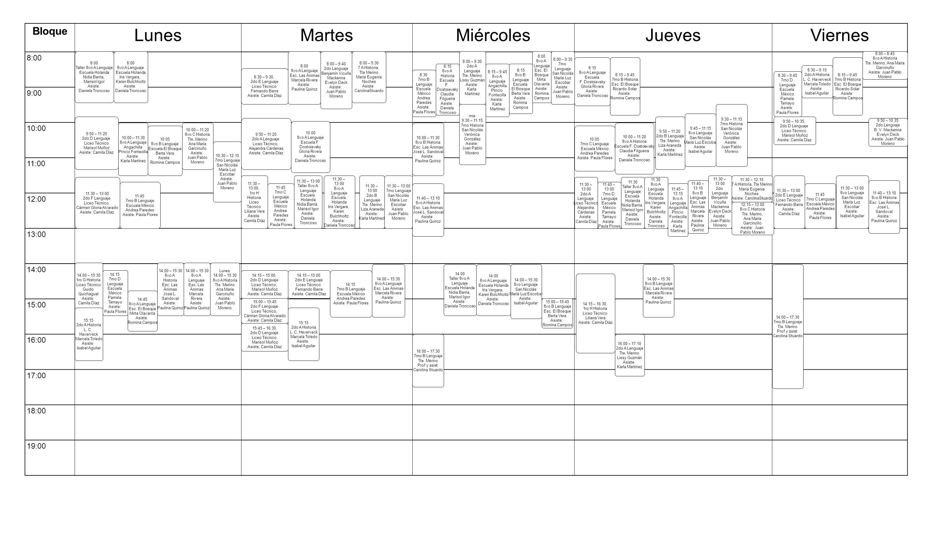 Bloque LunesMartesMiércolesJuevesViernes 8:00 9:00 10:00 11:00 12:00 13:00 14:00 15:00 16:00 17:00 18:00 19:00 14:00 – 15:30 1ro G Historia Liceo Técn